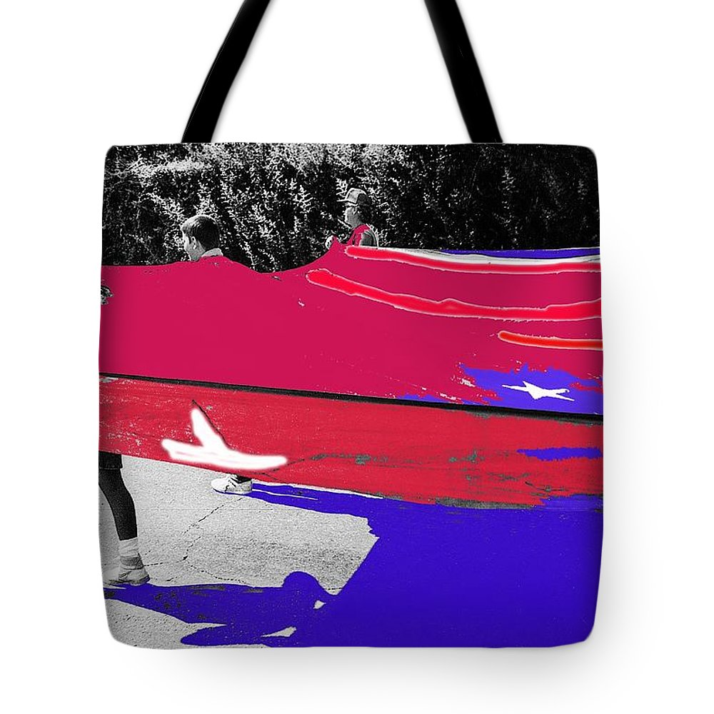 Inflatable Flag July 4th Parade 2 Tucson Arizona Tote Bag featuring the photograph Inflatable Flag July 4th Parade 2 Tucson Arizona by David Lee Guss