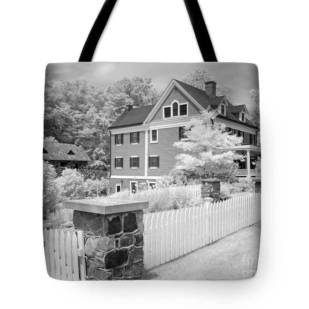 Infra Tote Bag featuring the photograph Infra Structure B W by Steve Gass