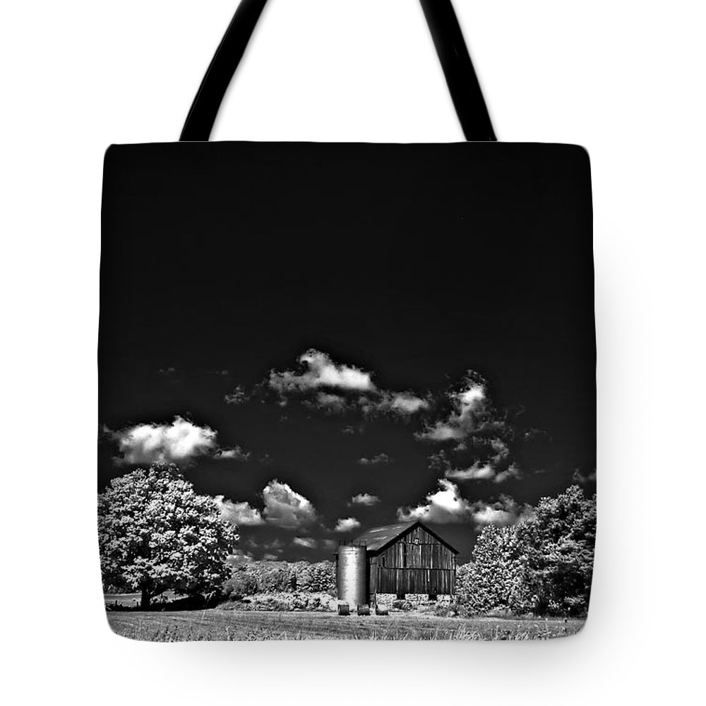 Infrared Tote Bag featuring the photograph Infrared Farm by Steve Harrington