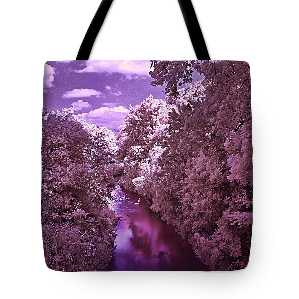 River Trees Wather Sky Clouds Infrared Magenta Blue White River Trees Wather Sky Clouds Infrared Magenta Blue White Framed Prints Tote Bag featuring the photograph Infrared River by Galeria Trompiz