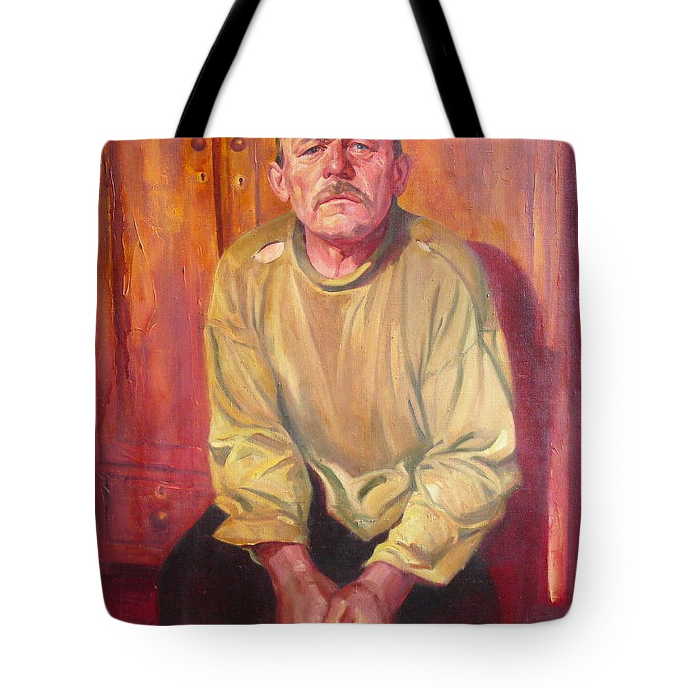 Oil Tote Bag featuring the painting Inhabitant Of Chernobyl Zone by Sergey Ignatenko