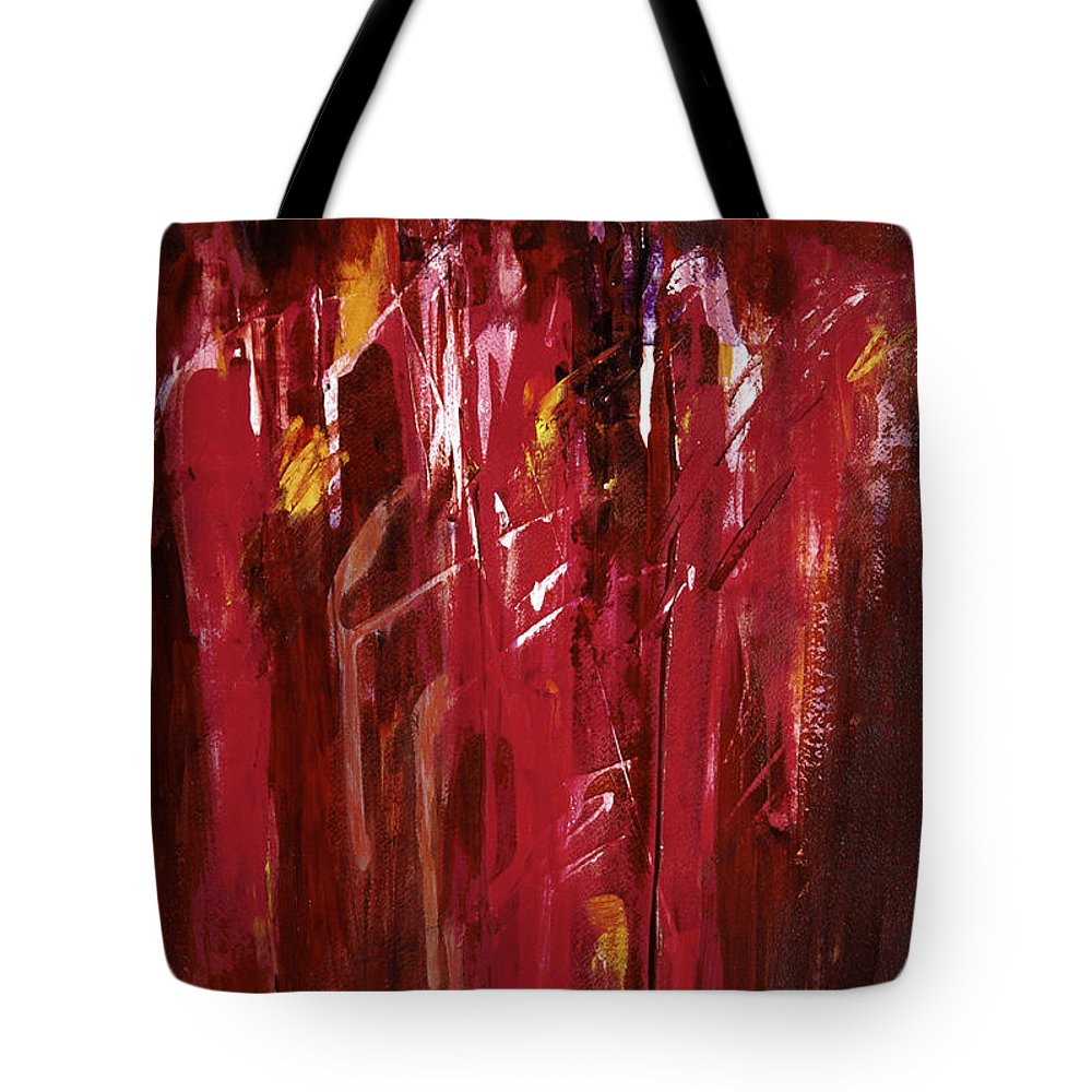 Abstract Tote Bag featuring the painting Initiation by Tara Moorman