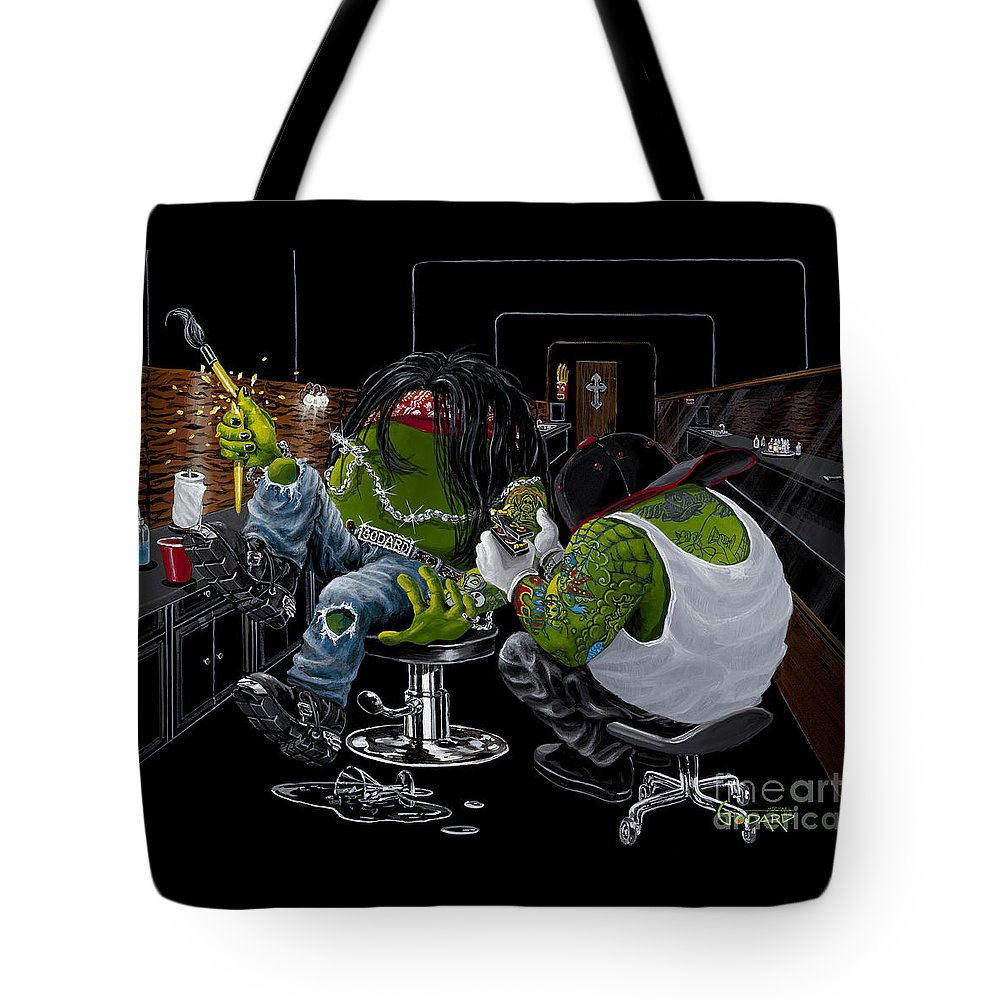 Tattoo Tote Bag featuring the painting Ink Slinger by Michael Godard