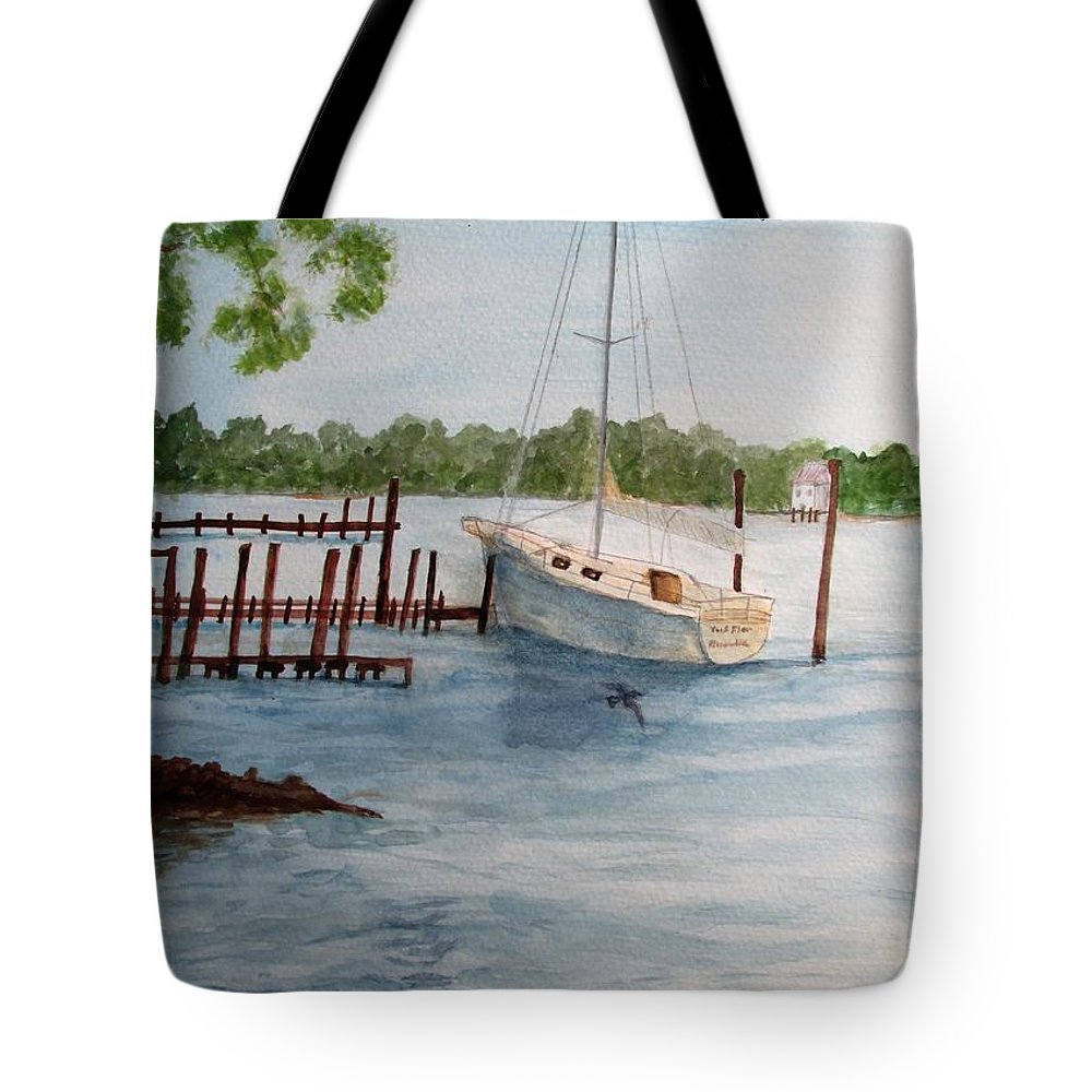 Seascape Tote Bag featuring the painting Inlet by Hal Newhouser