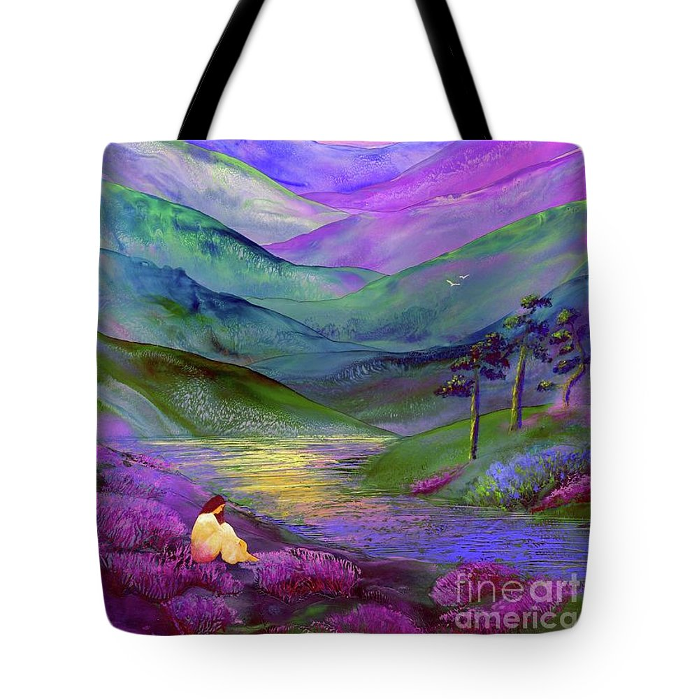 Meditation Tote Bag featuring the painting Inner Flame, Meditation by Jane Small