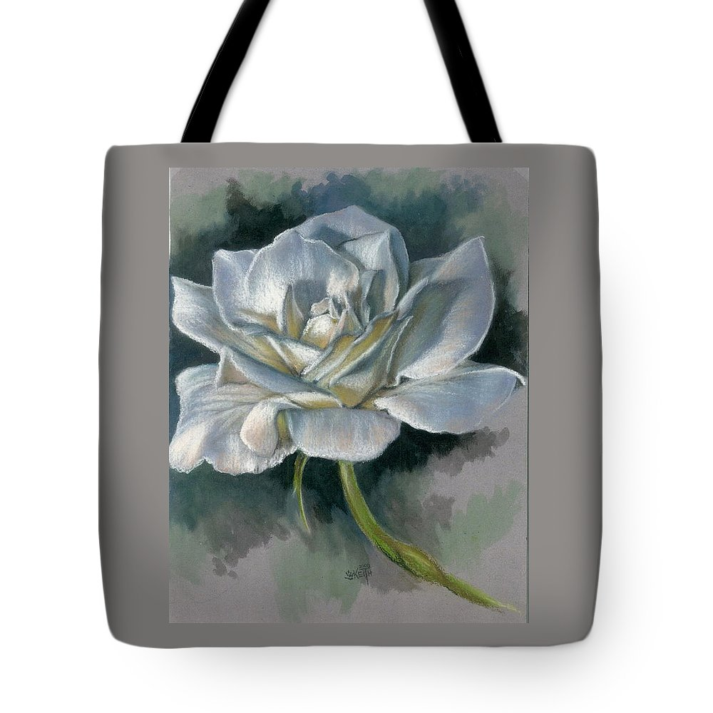 Rose Tote Bag featuring the mixed media Innocence by Barbara Keith