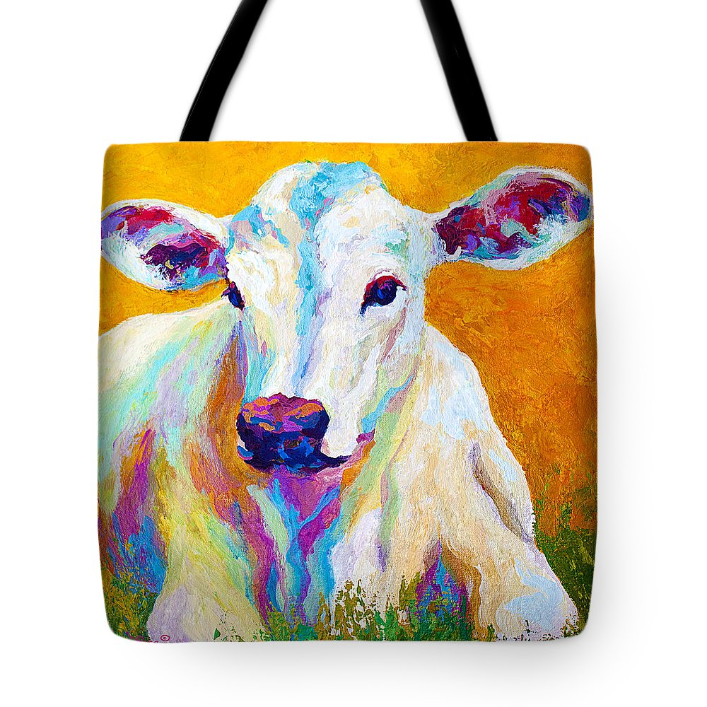 Cows Tote Bag featuring the painting Innocence by Marion Rose