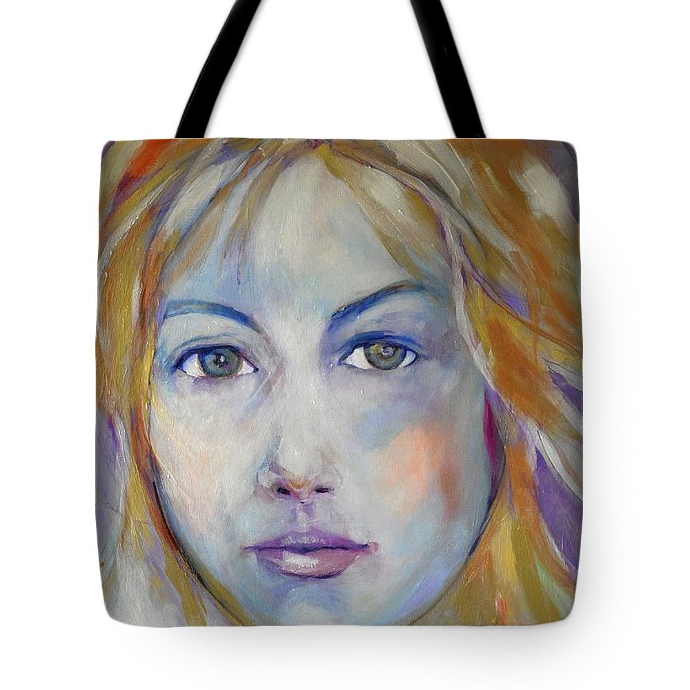 Faces Tote Bag featuring the painting Innocent In Iridescents by Michael Clifford Shpack