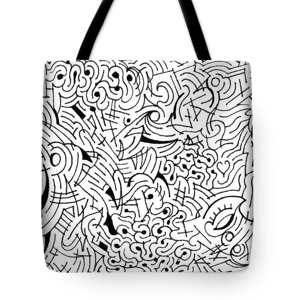 Tote bag drawing - Mazes Tote Bag Featuring The Drawing Inscrutable By Steven Natanson