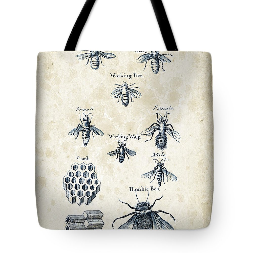Bee Tote Bag featuring the digital art Insects - 1792 - 14 by Aged Pixel