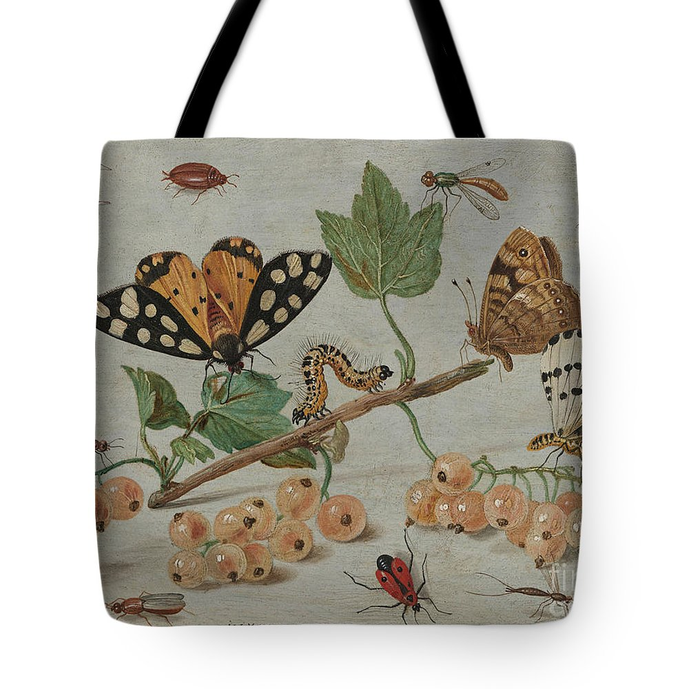 Flemish Tote Bag featuring the painting Insects And Fruit, by Jan Van Kessel