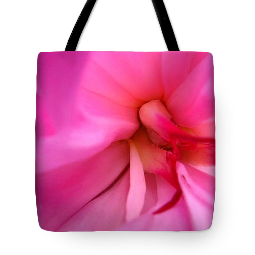 Flower Tote Bag featuring the photograph Inside a Peony by Rhonda Barrett