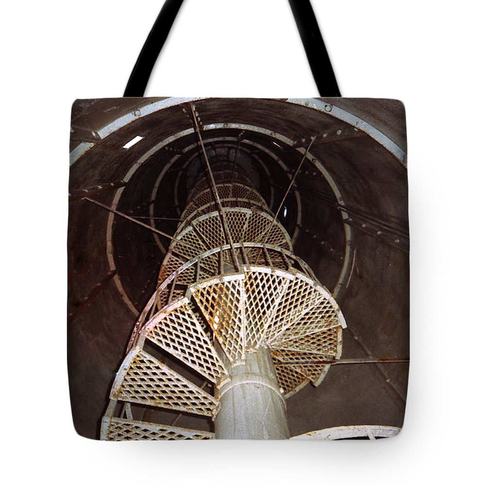 Lighthouse Matagorda Island Inside Tote Bag featuring the photograph Inside Looking Up - Matagorda Island Lighthouse by Cindy New
