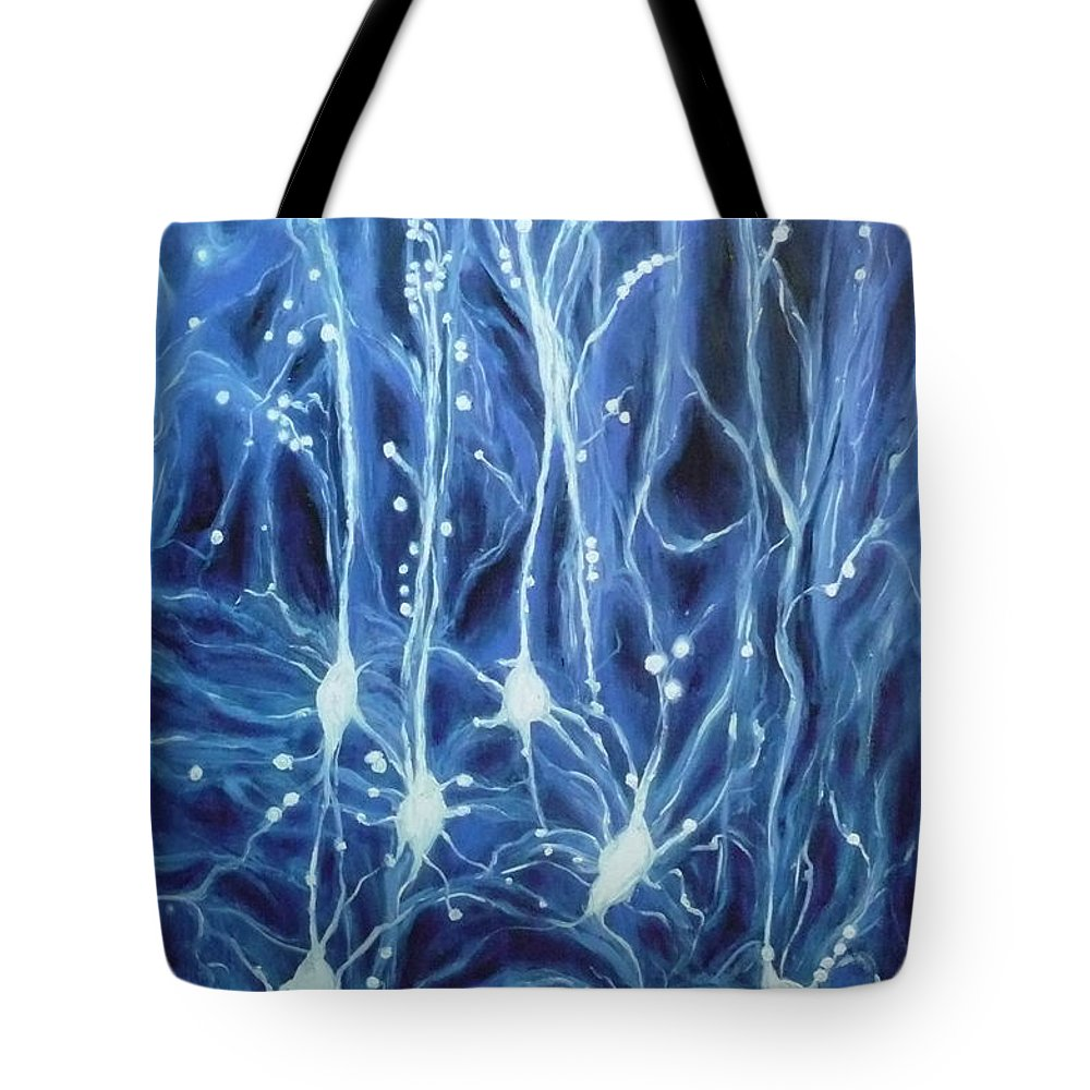 Brain Cell Tote Bag featuring the painting Inside The Brain by Ericka Herazo