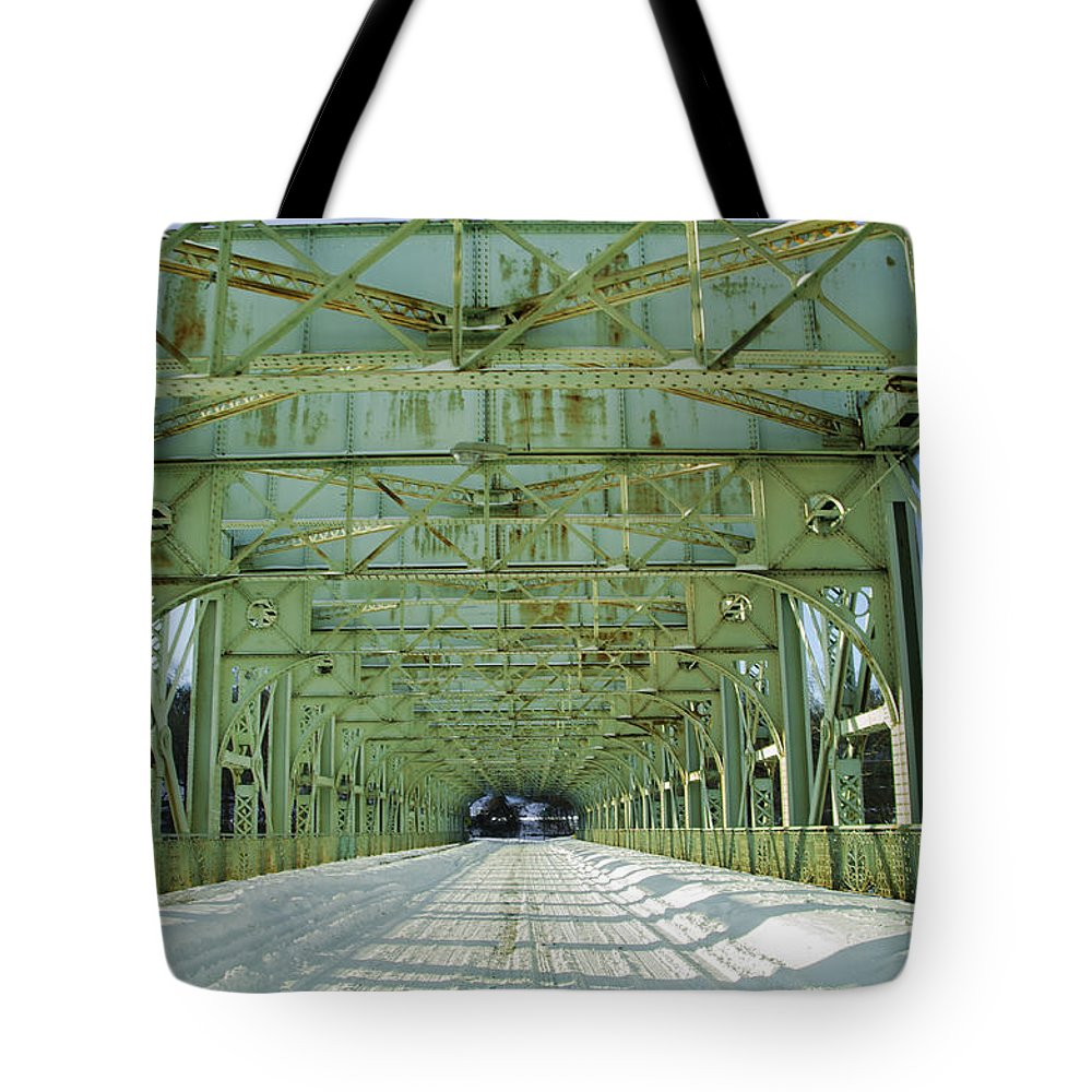 Inside Tote Bag featuring the photograph Inside The Falls Bridge - Winter by Bill Cannon