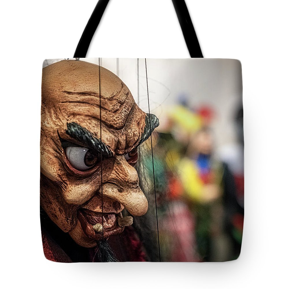 Czech Tote Bag featuring the photograph Inside The Puppet Store - Prague by Stuart Litoff