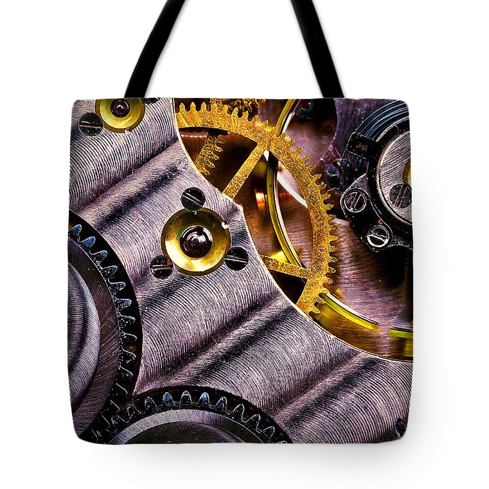 Pocket Watch Tote Bag featuring the photograph Inside Time by Onyonet Photo Studios