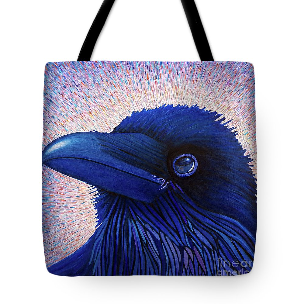 Raven Tote Bag featuring the painting Inspiration by Brian Commerford