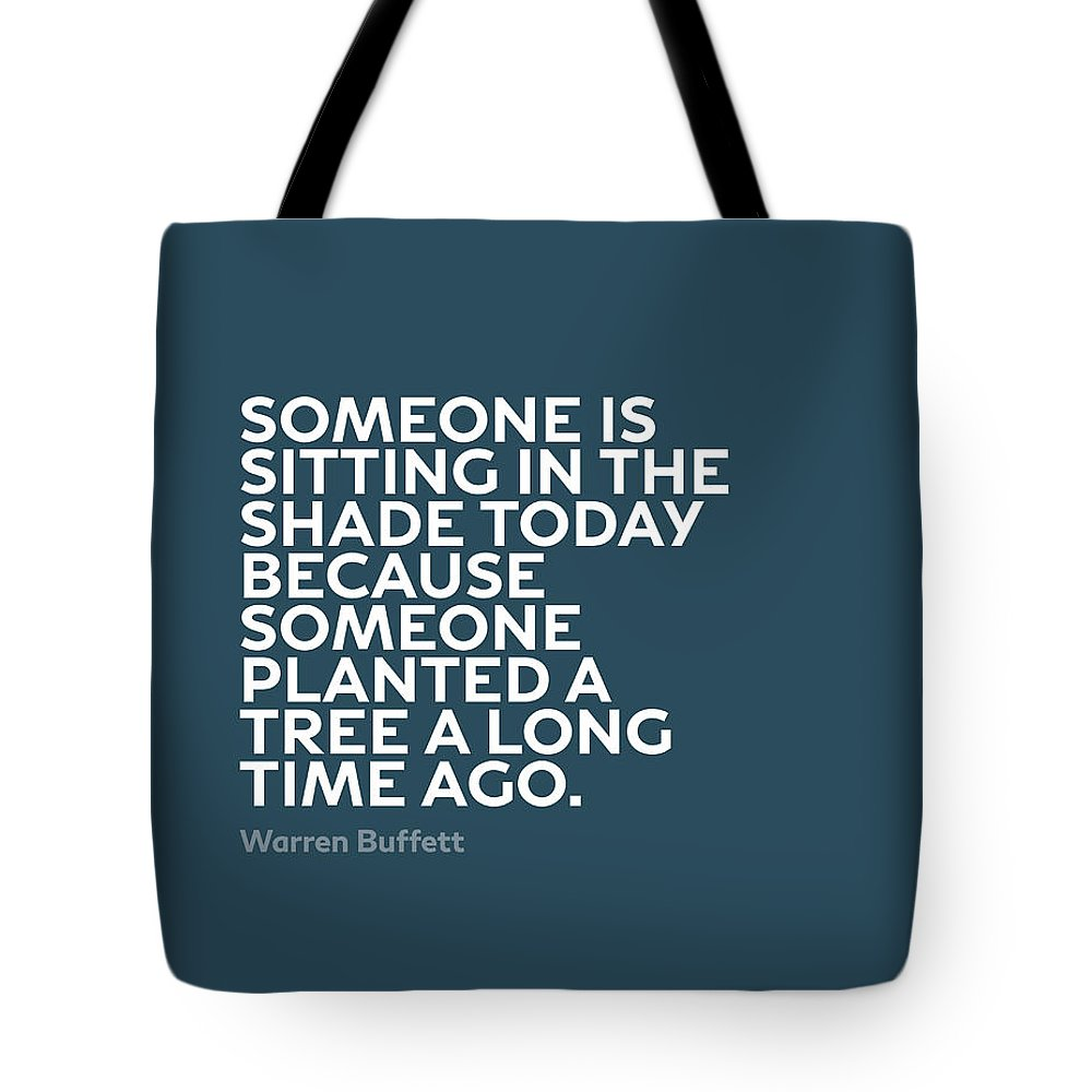 Inspirational Tote Bag featuring the mixed media Inspirational Quotes Series 003 Warren Buffett by Design Turnpike