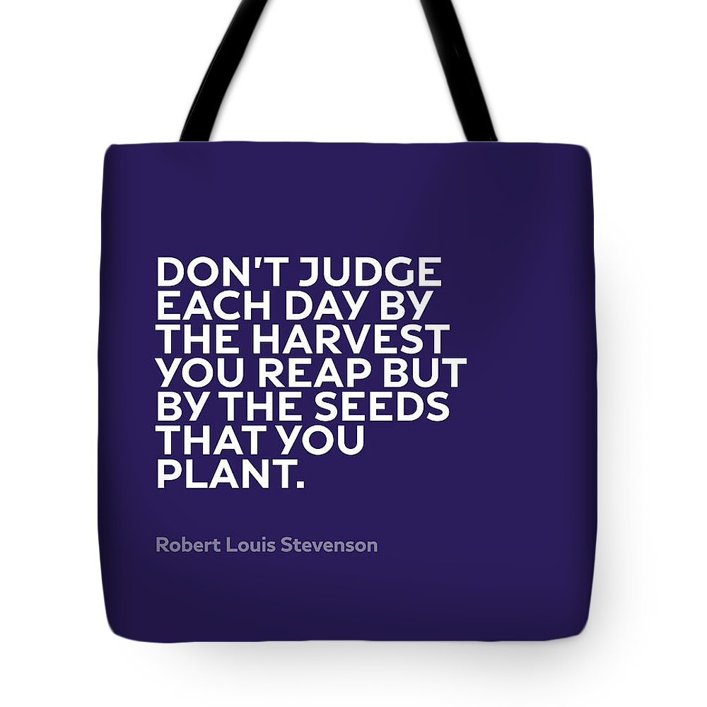 Inspirational Tote Bag featuring the mixed media Inspirational Quotes Series 005 Robert Louis Stevenson by Design Turnpike