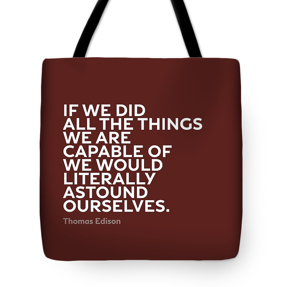 Inspirational Tote Bag featuring the mixed media Inspirational Quotes Series 009 Thomas Edison by Design Turnpike