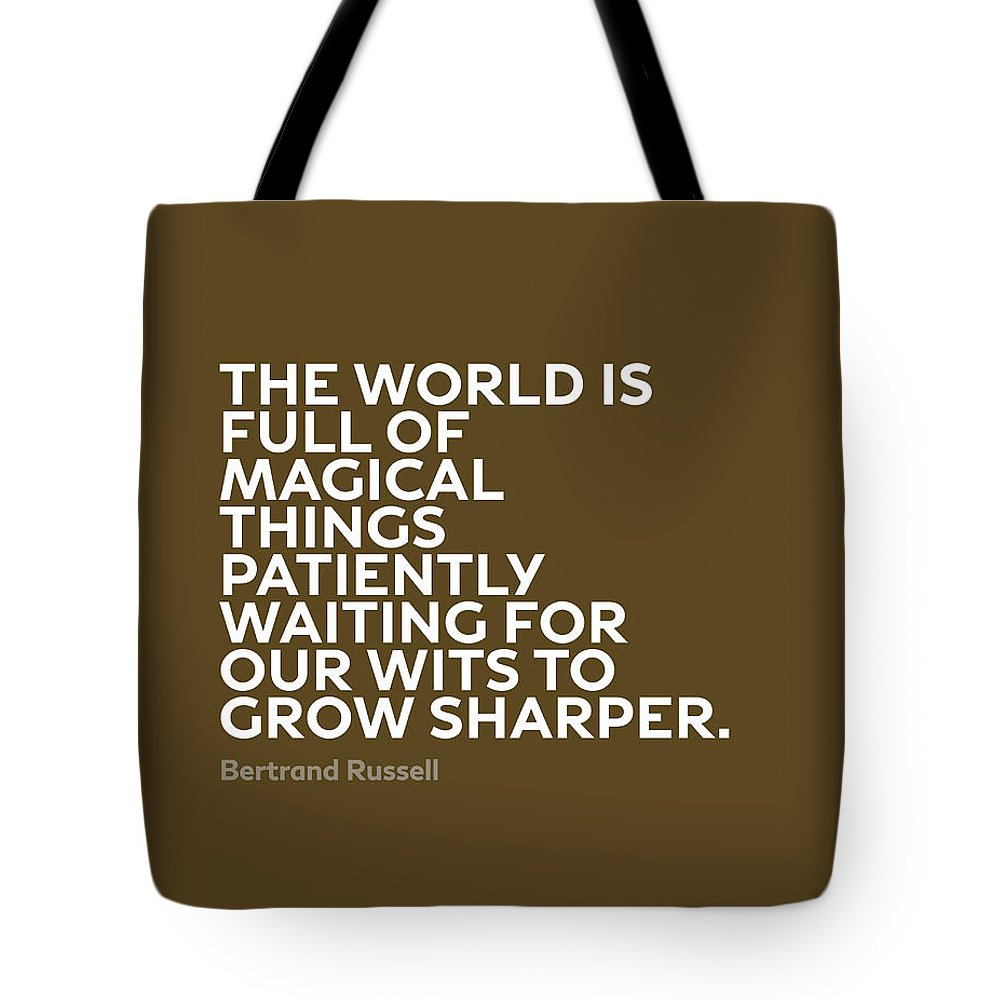 Inspirational Tote Bag featuring the mixed media Inspirational Quotes Series 010 Bertrand Russell by Design Turnpike