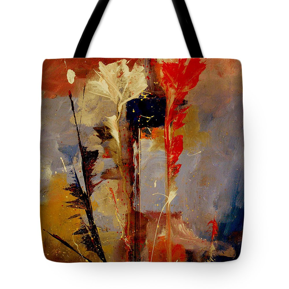 Abstract Botanical Floral Flowers Color Red Pink Blue White Yellow Orange Purple Tote Bag featuring the painting Inspire Me by Ruth Palmer