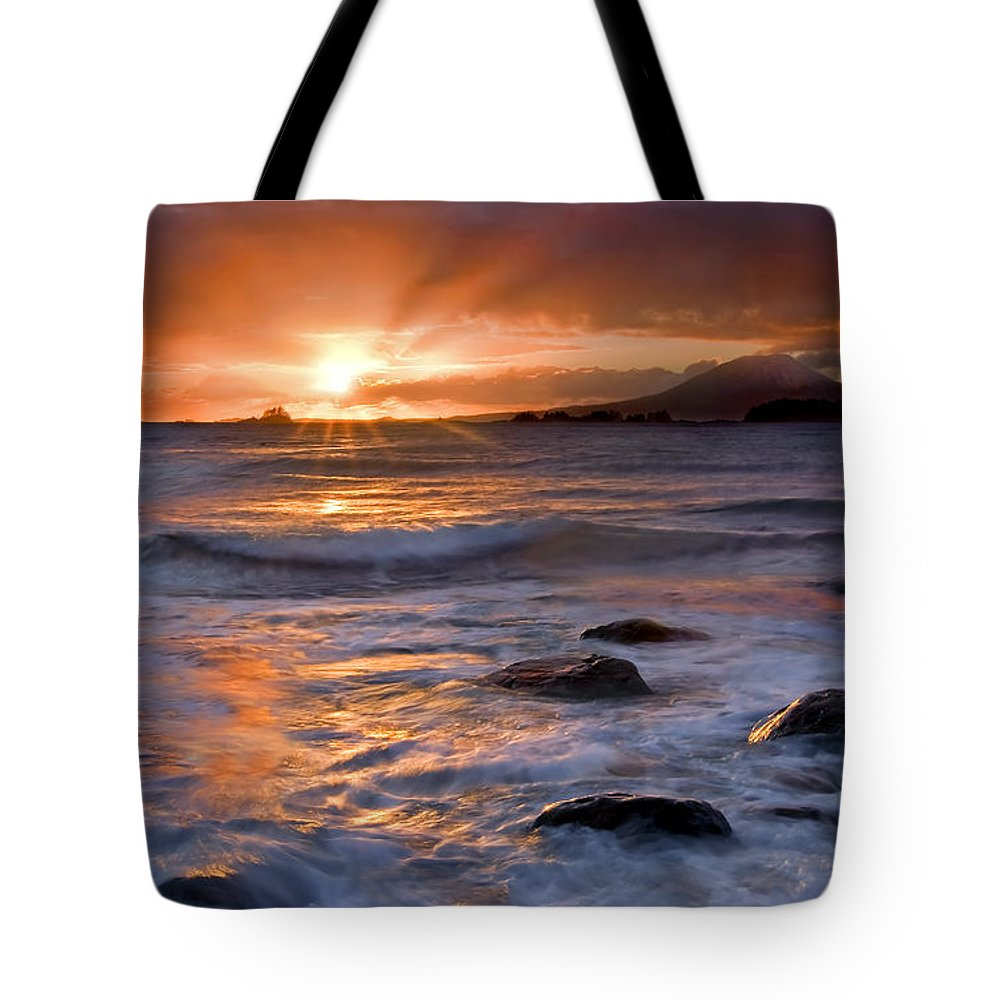 Alaska Tote Bag featuring the photograph Inspired Light by Mike Dawson