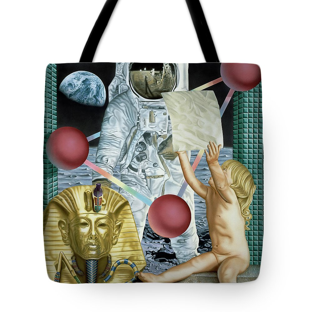 Astronauts Tote Bag featuring the painting Instructions by Rich Milo