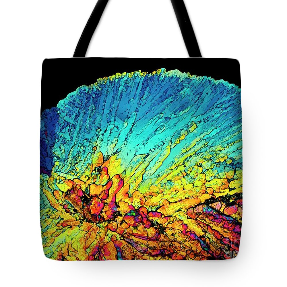 Amino Acid Tote Bag featuring the photograph Insulin Crystals Light Micrograph by Alfred Pasieka SPL