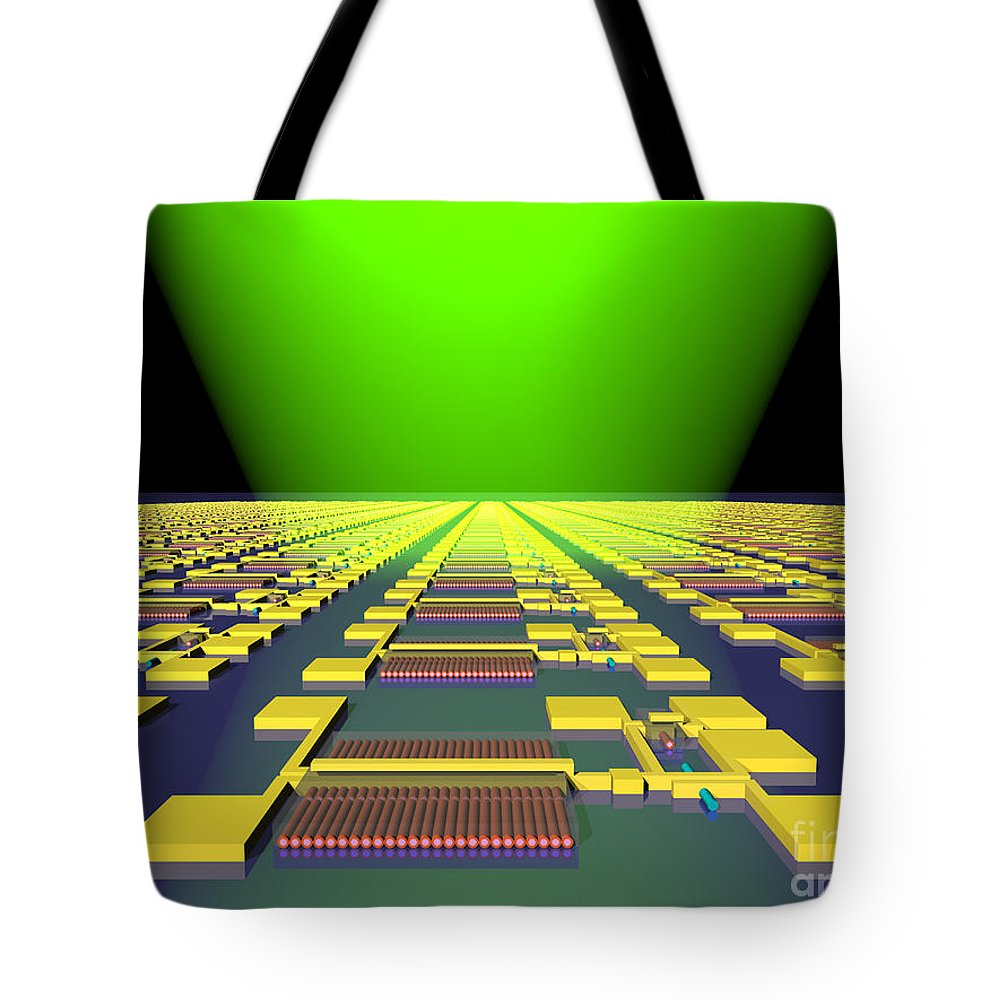 Science Tote Bag featuring the photograph Integrated Nanowire Sensor Circuitry by Science Source
