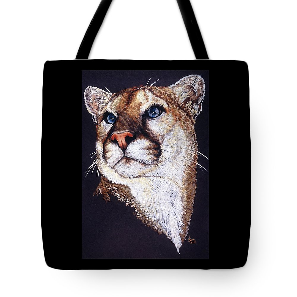 Cougar Tote Bag featuring the drawing Intense by Barbara Keith