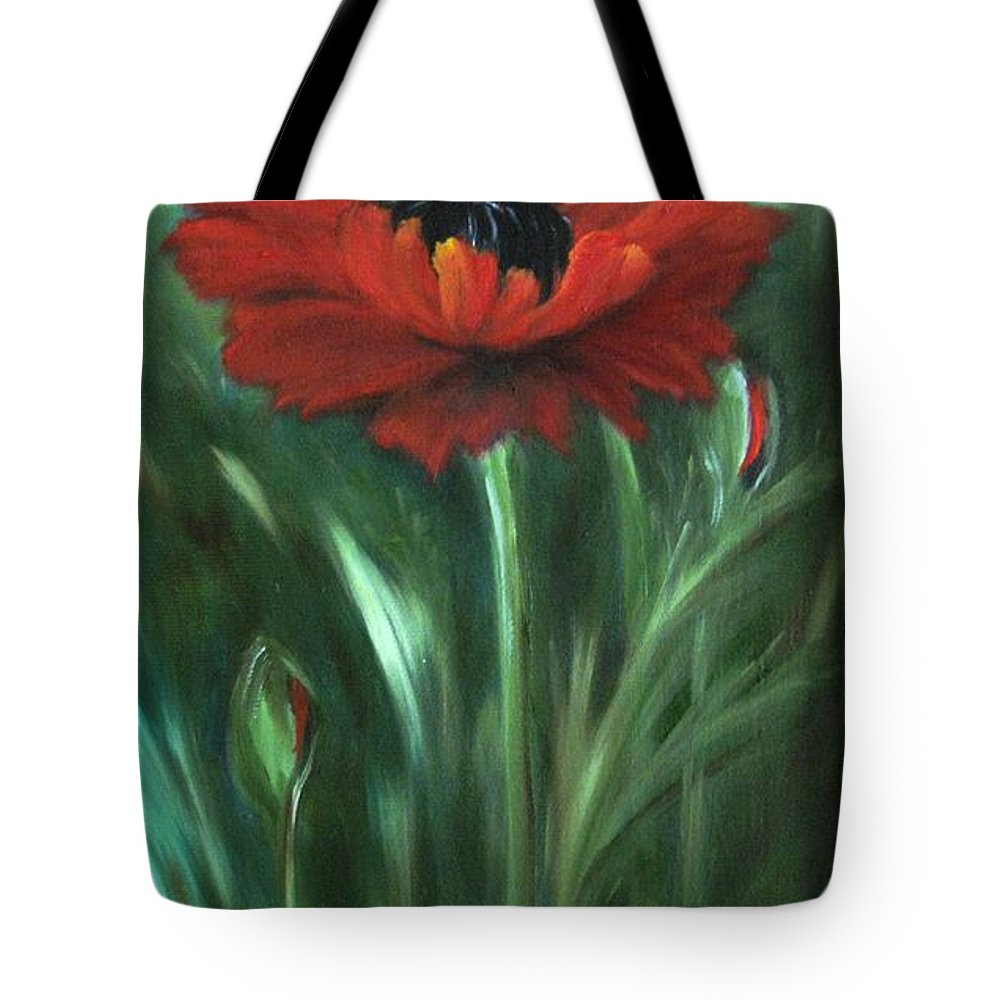 Poppy Tote Bag featuring the painting Intense by Carol Sweetwood