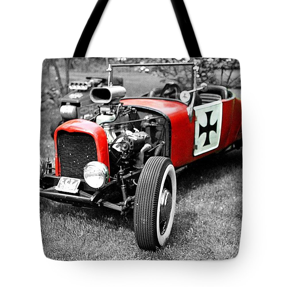 Intense Classic Vintage Red Symbol Life Photograph Auto Automobile black & White Edit Color Tote Bag featuring the photograph Intense. by Stevie Ellis