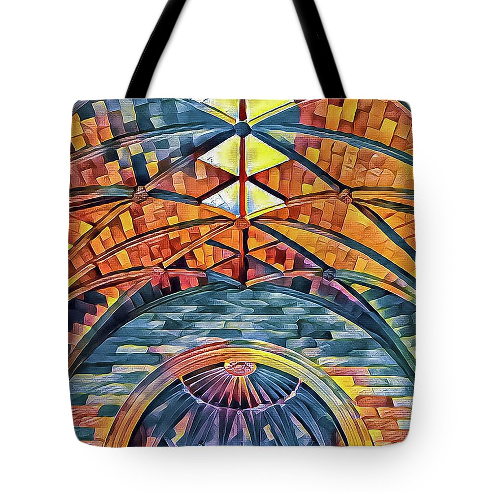 Abstract Tote Bag featuring the mixed media Interact by Jonathan Nguyen
