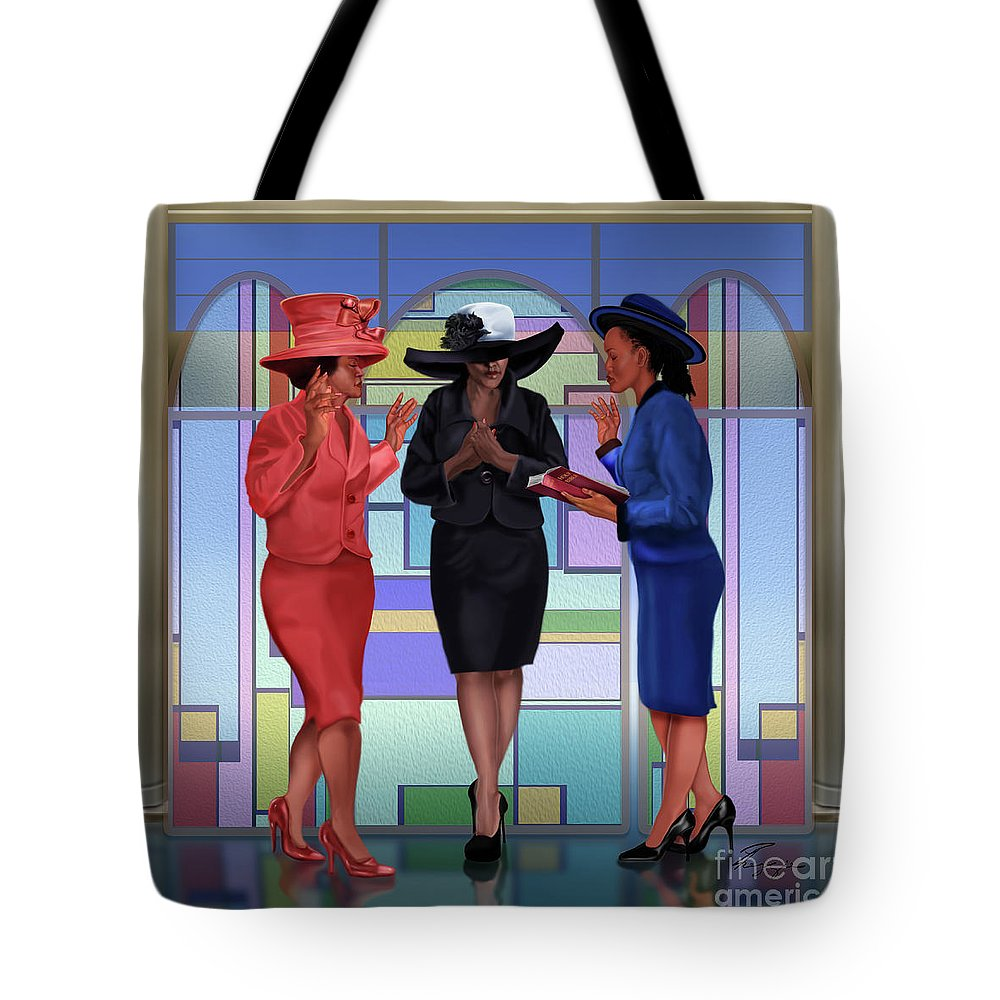 Women In Church Hats Tote Bag featuring the painting Interceding On A Sunday Morning by Reggie Duffie