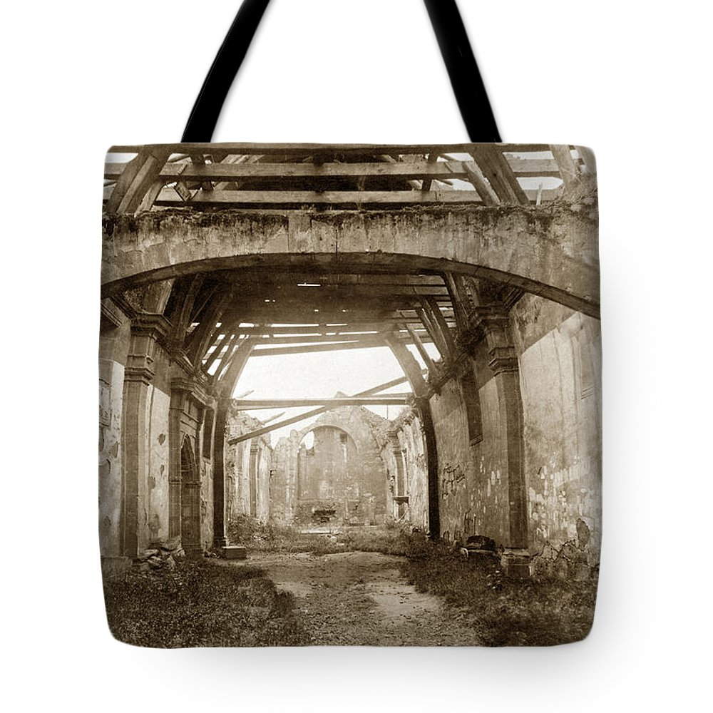 Interior Tote Bag featuring the photograph Interior Of Carmel Mission Looking Towards The Altar. Circa 1880 by California Views Archives Mr Pat Hathaway Archives