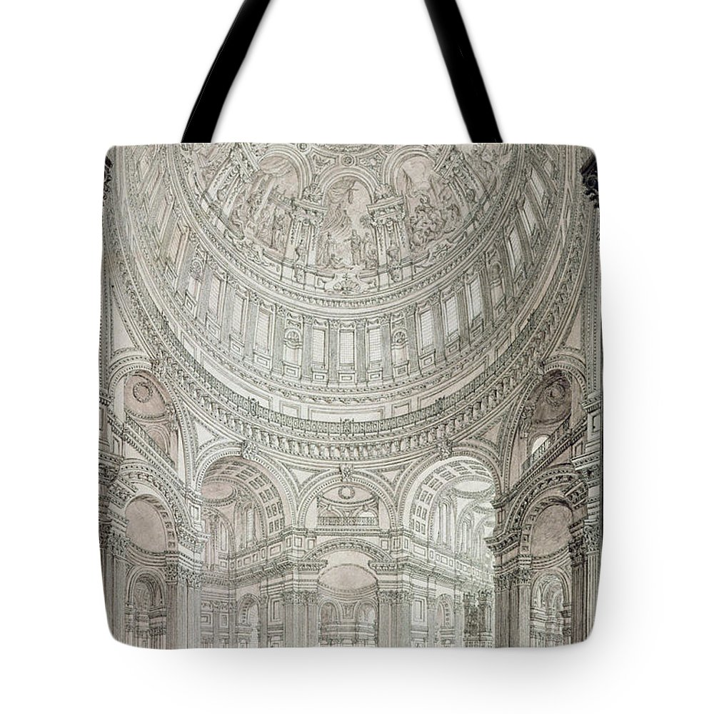 Church; Architecture; Dome; Baroque; Christopher Wren Tote Bag featuring the drawing Interior Of Saint Pauls Cathedral by John Coney
