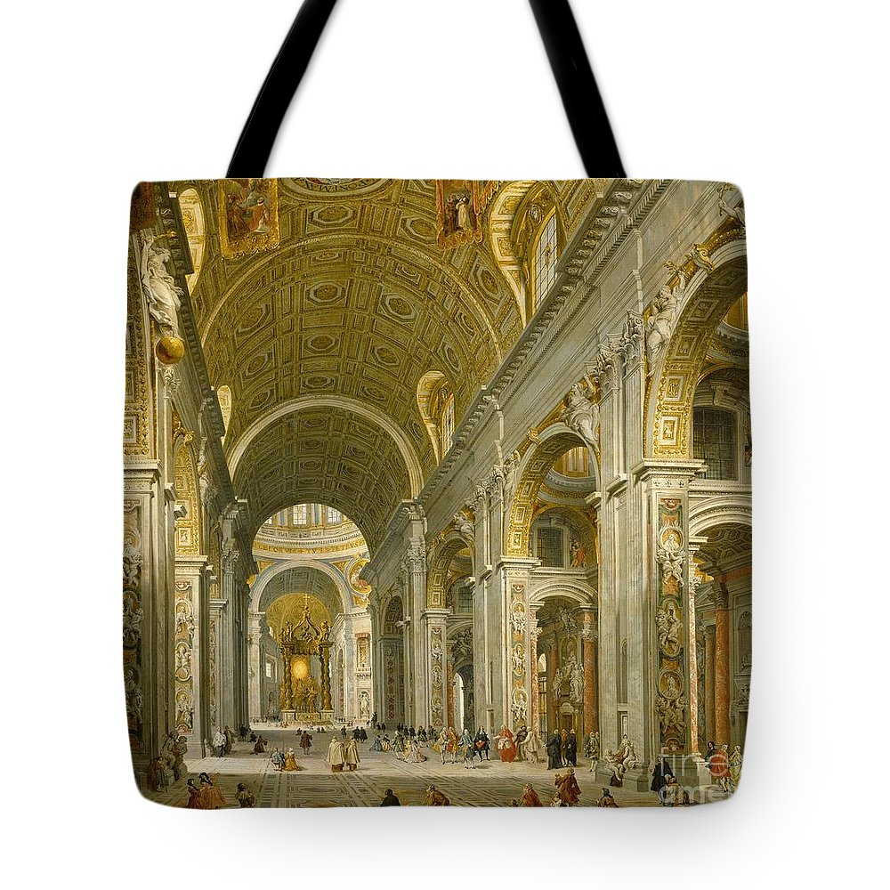 Interior Tote Bag featuring the painting Interior Of St. Peter's - Rome by Giovanni Paolo Panini