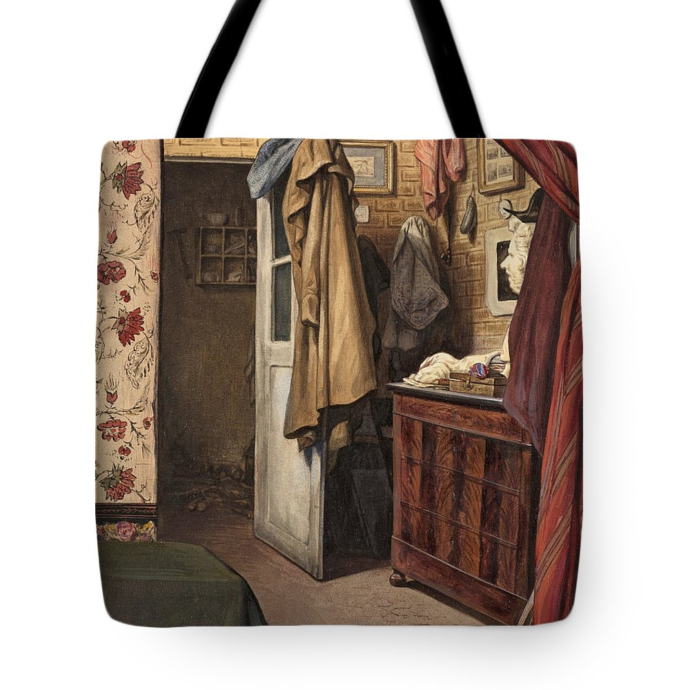 Alexandre-marie Colin Tote Bag featuring the drawing Interior Of The Artist's Studio by Alexandre-Marie Colin