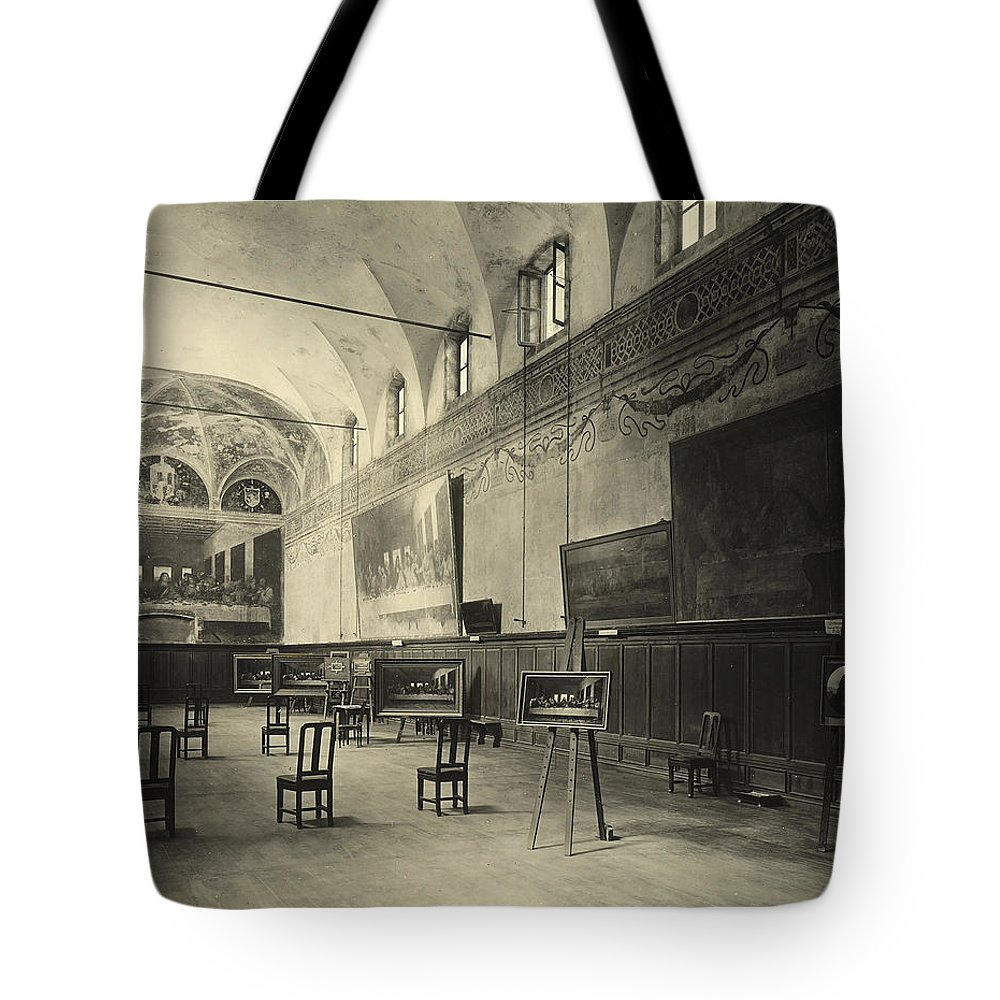 Wall; Fresco; Ecclesistical Interior; Vaulted Ceiling; Da Vinci; Refectory; Convent Tote Bag featuring the painting Interior Of The Dining Hall Of The Church Of Santa Maria Delle Grazie Milan by Alinari