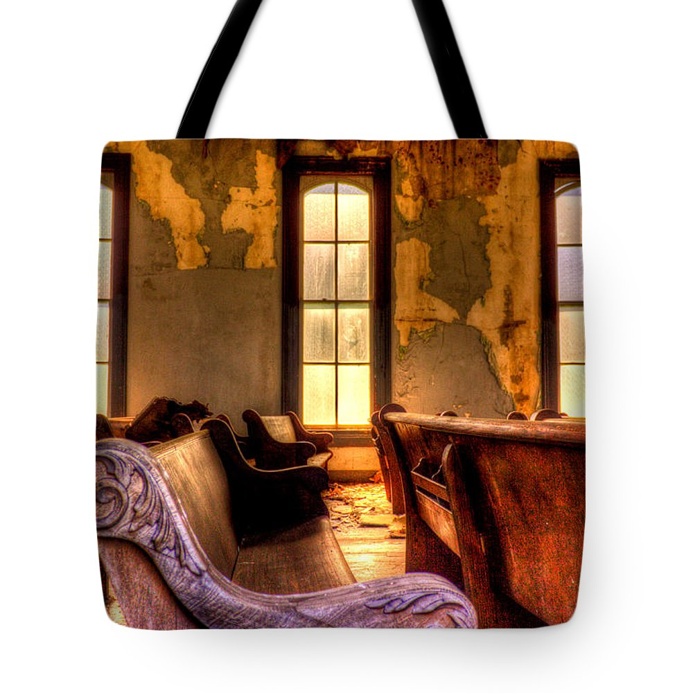 Church Tote Bag featuring the photograph Interior Old Church by Jonny D
