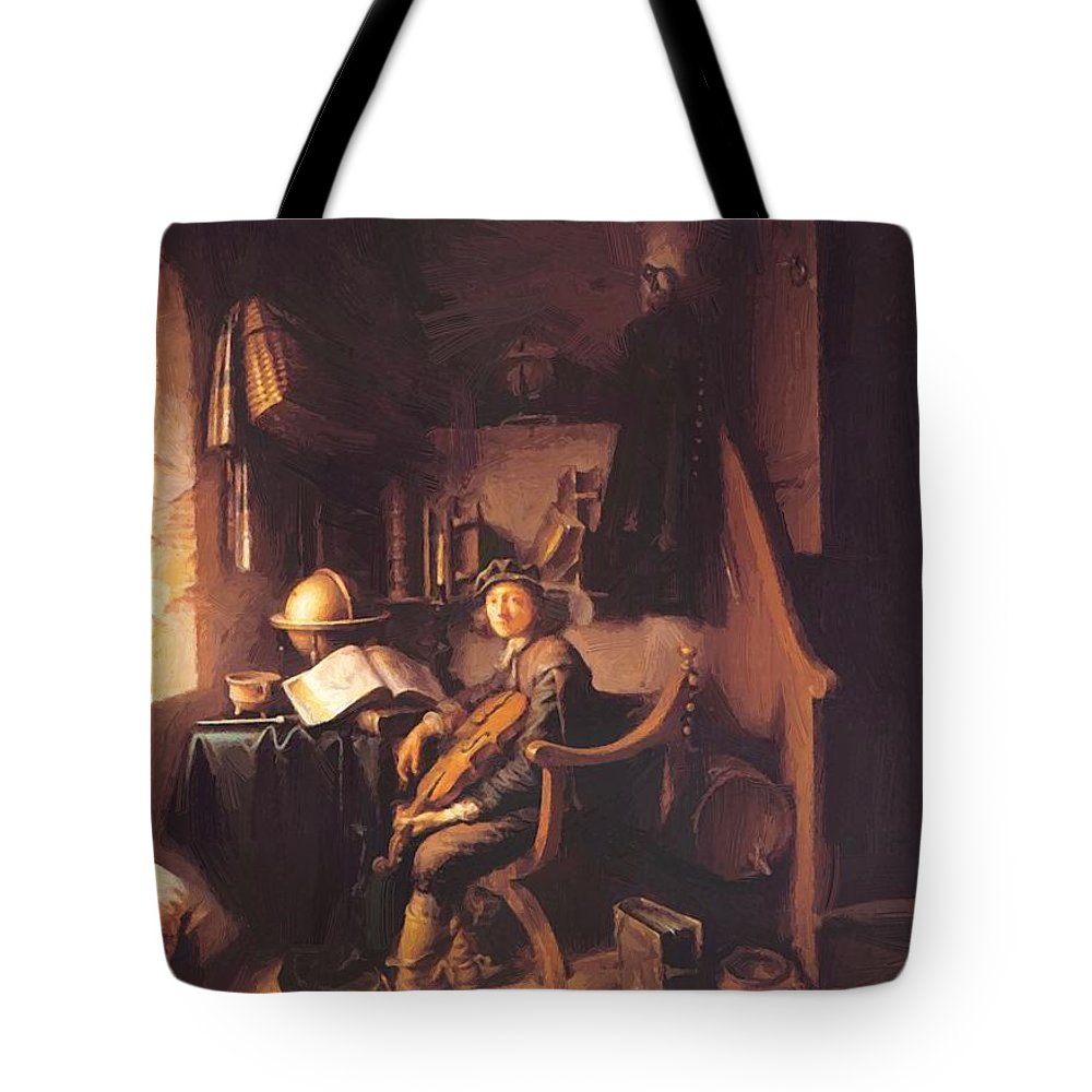 Interior Tote Bag featuring the painting Interior With A Young Violinist 1637 by Dou Gerrit
