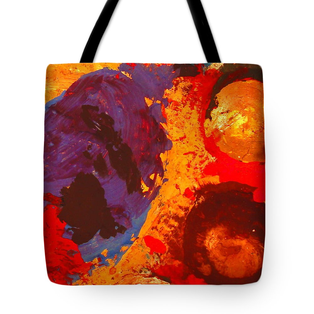 Abstract Tote Bag featuring the painting Interplanetary Encounter by Natalie Holland