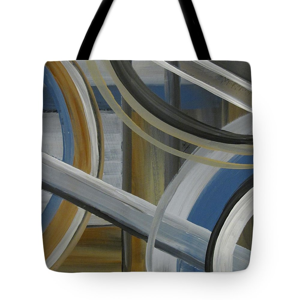 Abstract Tote Bag featuring the painting Intersection In Blue 2 by Anita Burgermeister