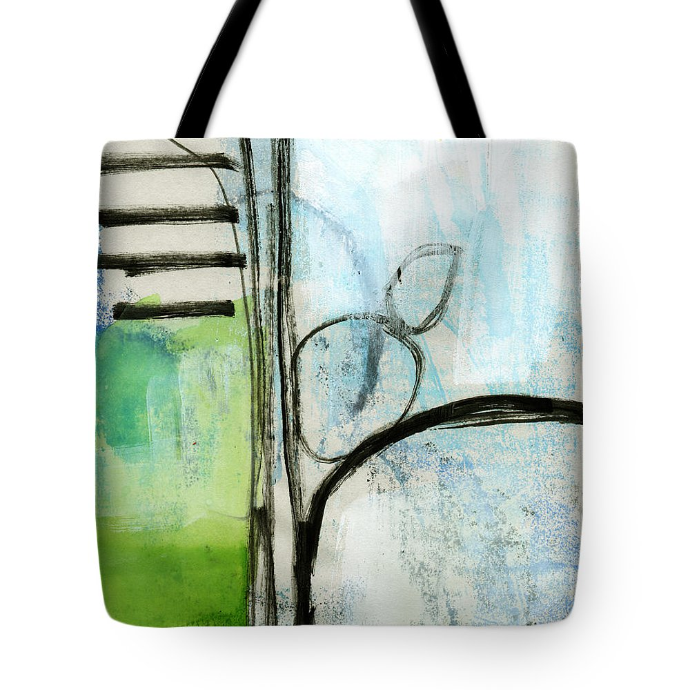Abstract Tote Bag featuring the painting Intersections #35 by Linda Woods