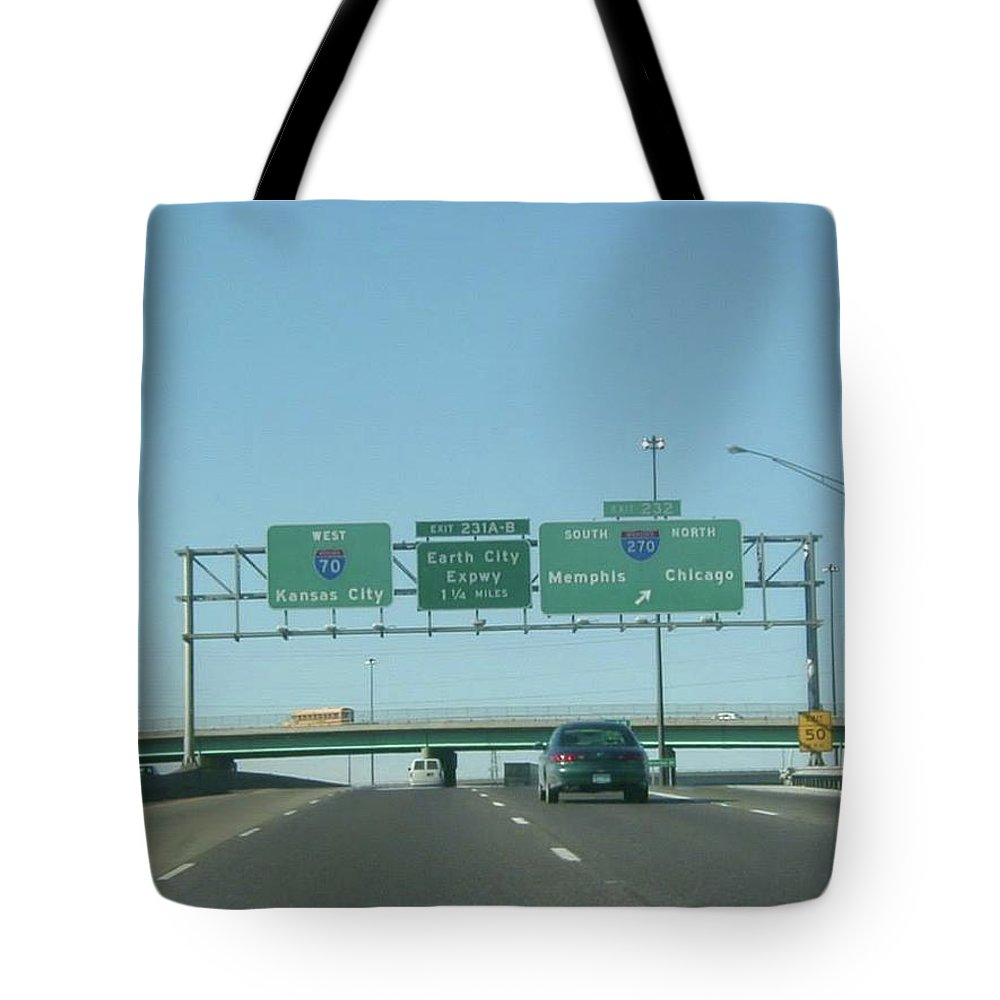 St. Louis Tote Bag featuring the photograph Interstate 70 West At Exit 232, Interstate 270 Exits, 1999 by Dwayne