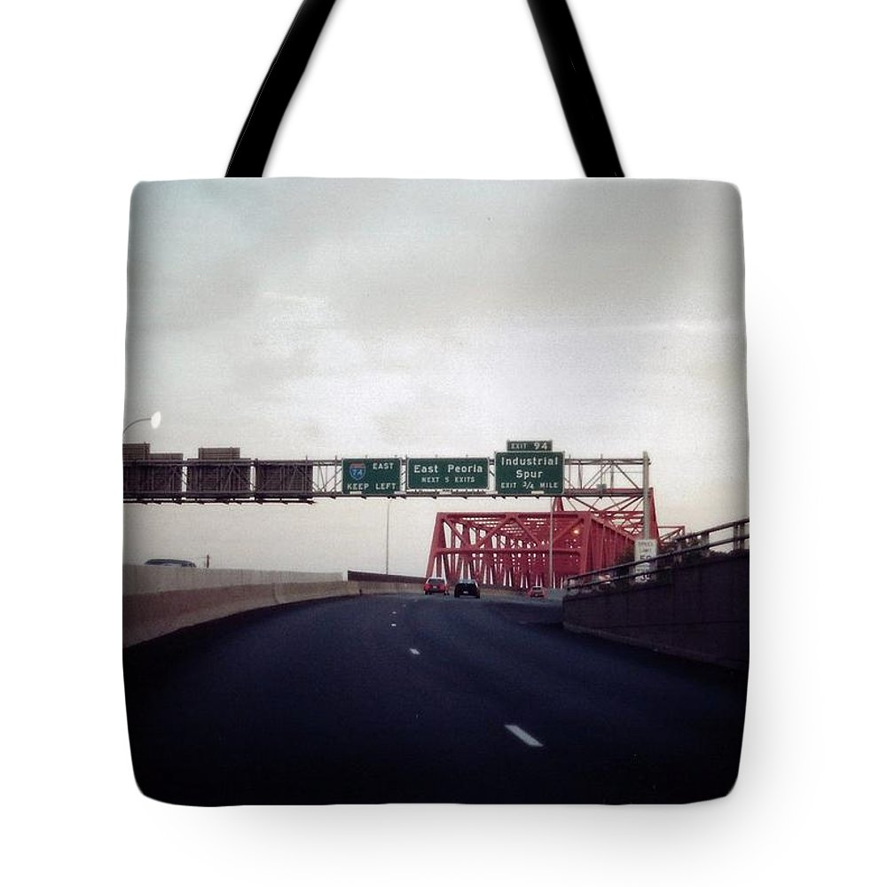 Peoria Tote Bag featuring the photograph Interstate 74 East Approach Exit 94, Industrial Spur Exit, 1987 by Dwayne