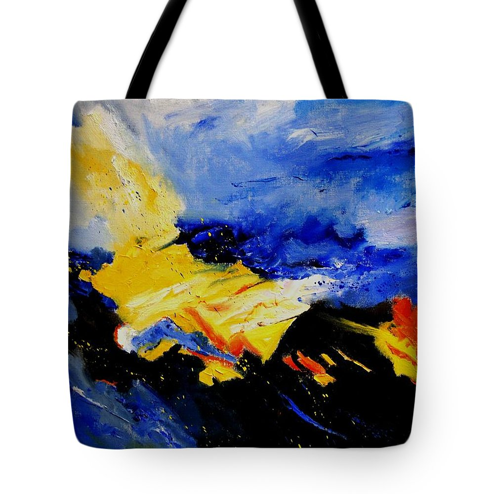 Abstract Tote Bag featuring the painting Interstellar Overdrive 2 by Pol Ledent
