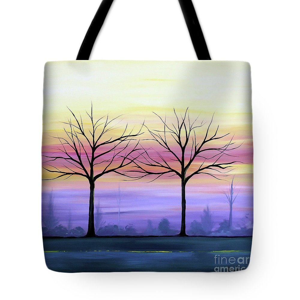 Trees Tote Bag featuring the painting Intertwined by Stacey Zimmerman